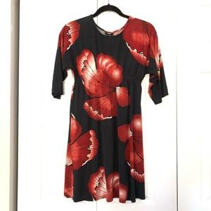 Mossimo Floral black Red Smocked Spring Dress